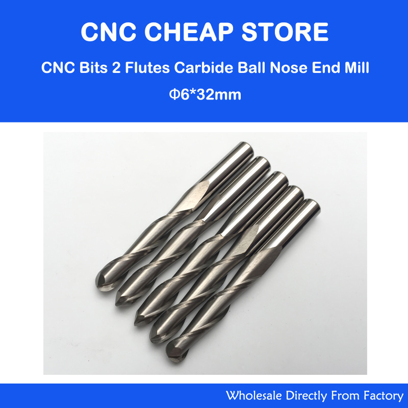 6*32*60L 2 Flute Carbide Cutter Ball Mill for Wood Carving Engraving, Router CNC Bits Ball Nose Wood Milling Tools Cutters 5pcs woodworking 3 flute shank 6mm cnc router bits mill spiral cutter tungsten carbide density board carving tools cel 22mm