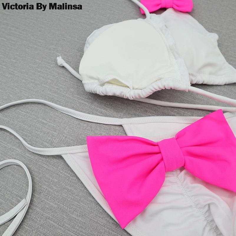 Women Bow Triangle Bikini Set White Sexy Secret Swimsuit Biquini Thong Bottom brazilian Bathing Suit Summer Cheeky Swimwear 3