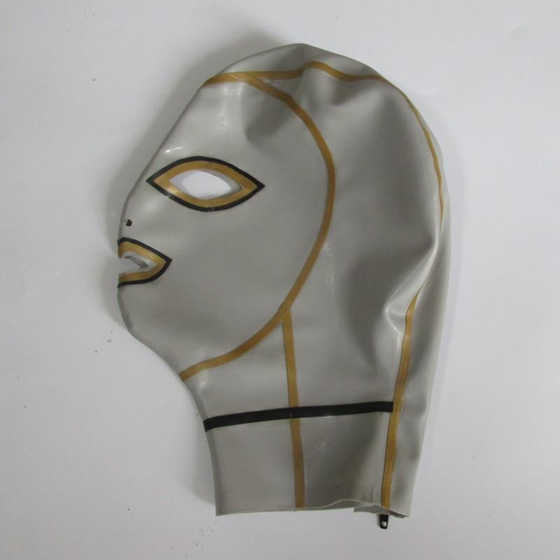 0.4mm latekshõbedane unisexi seksikas tihe mask lateksist - Kostüümid - Foto 1