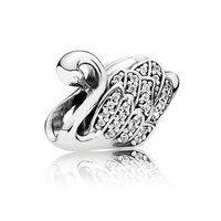 Majestueux Swan Effacer CZ Perle de Charme D'origine 925 Sterling Bijoux En Argent Pour Femmes Adapte Europe Bracelets DIY Making