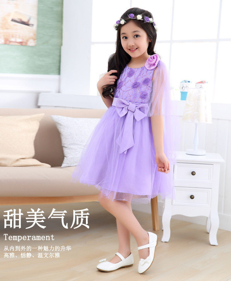 Red Purple Flower Embroidery Wedding Bridesmaid Dresses for Kids 3 ...