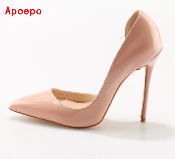 2017 New Fashion Nude Patent Leather High Heel Shoes Sexy Pointed toe Stiletto Heels Woman Dress Shoes 12MM Bridal Shoes леви марк между небом и землей