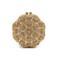 คริสตัลC Lutchesวันสีชมพูดอกกุหลาบแบบเลดี้ถุงเย็นผู้หญิงทองกระ