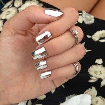 New 24tips Pre Glued Silver Metallic Nail Tips False Nails Artificial