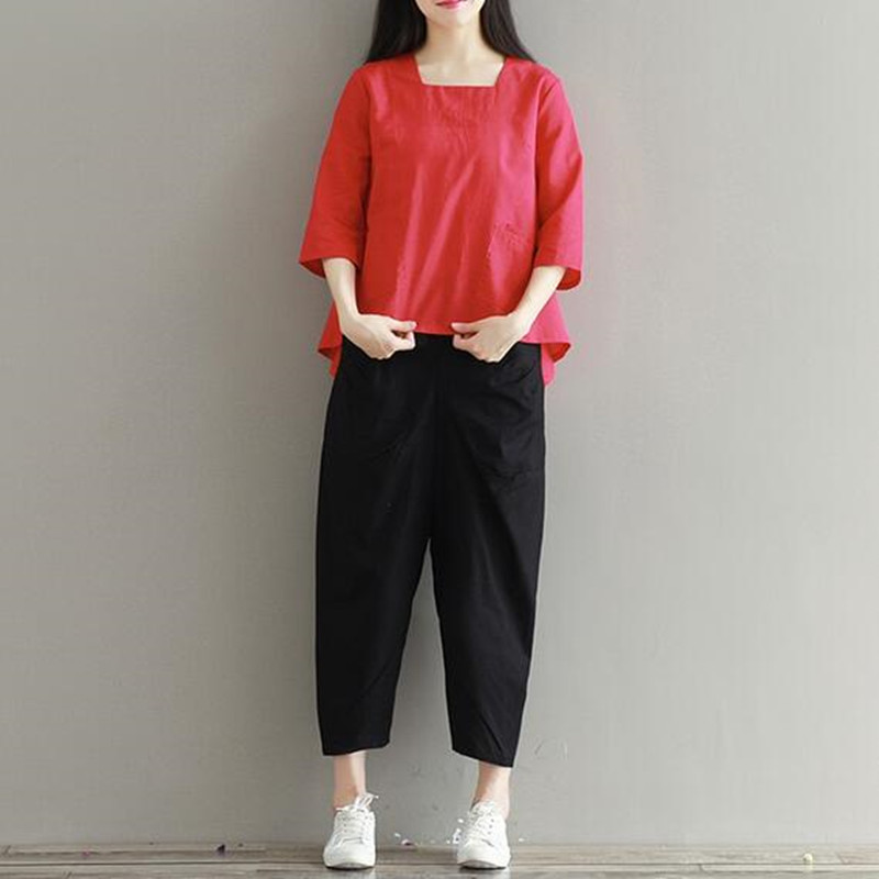Linen Harem   Pants     Capris   Women Spring Autumn Vintage Casual   Pant   Female Black Color Summer Loose   Pants   Linen Cotton   Capris