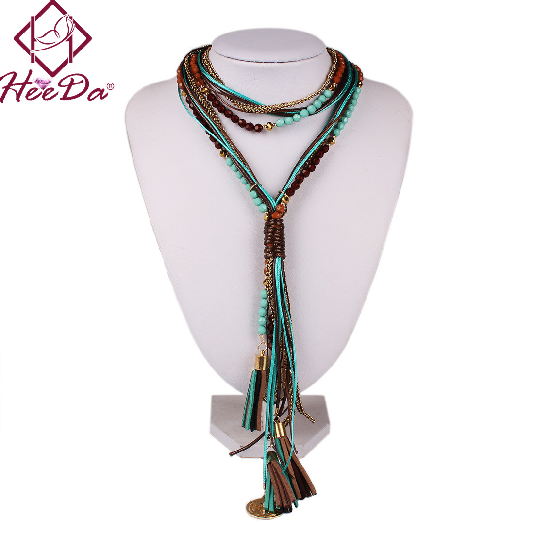 Boho Women Summer Long Necklace Handmade Round Bead Tassel Neck Accessories Green Red Statement Jewelry New Joker Sweater Chian