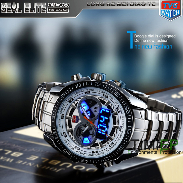 TVG New Trendy Men's Sport Clock Fashion Blue Binary LED Pointer Watch Mens Divi