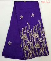 Beaded George Fabric In Purple With Gold Embroidery 5yards Pcs Silk Satin For Sewing Nigerian George