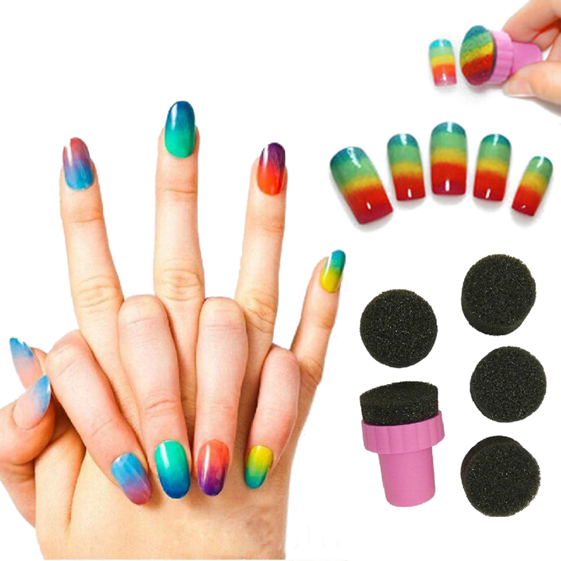 MANZILIN Jg0045 Nail Art Tools Gradient Nails 5 Pcs Soft Sponges 1 Pc Stamp For Color Fade Manicure Creative Nail Accessories