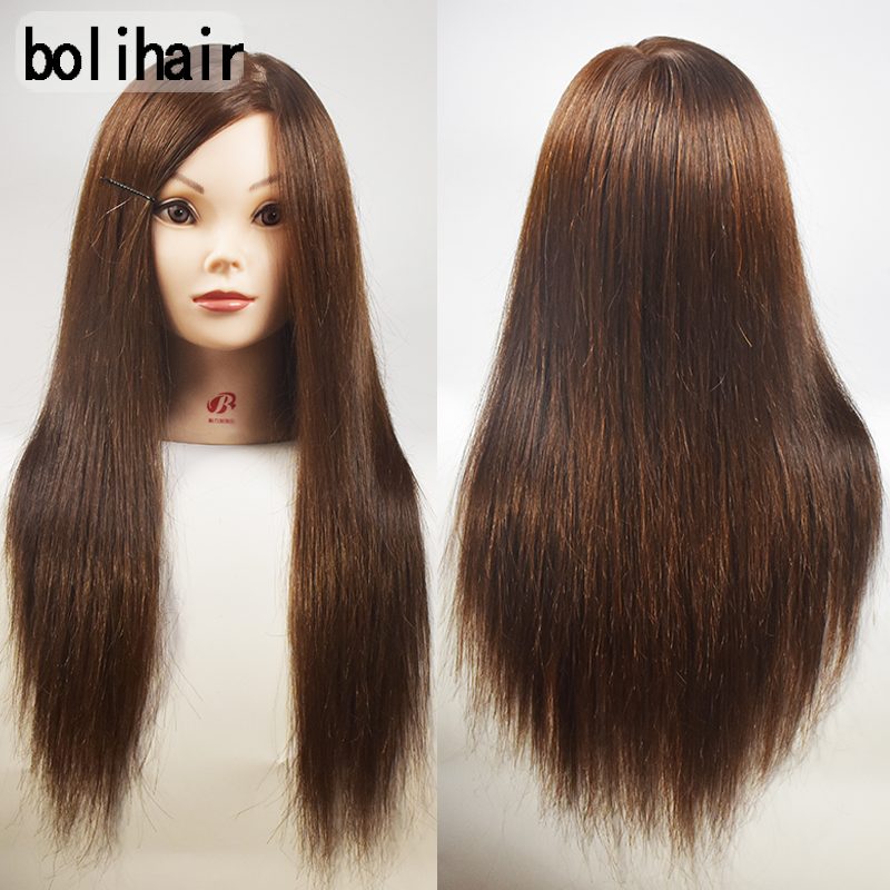 18Inch Brown Human Hair Mannequin Training Head Manikin hairdresser Cosmetology Head For Sale Professional Styling Training Head