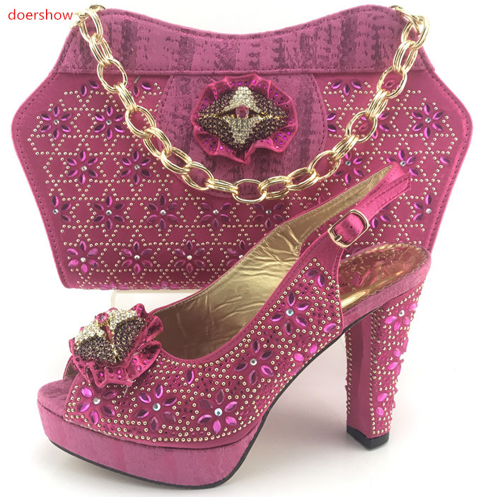 doershow Italian Shoes and Bag Sets pink Women Shoes and Bag Set In Italy Matching Shoes and Bag Set Decorated with StonesPMB1-4 italian visual phrase book