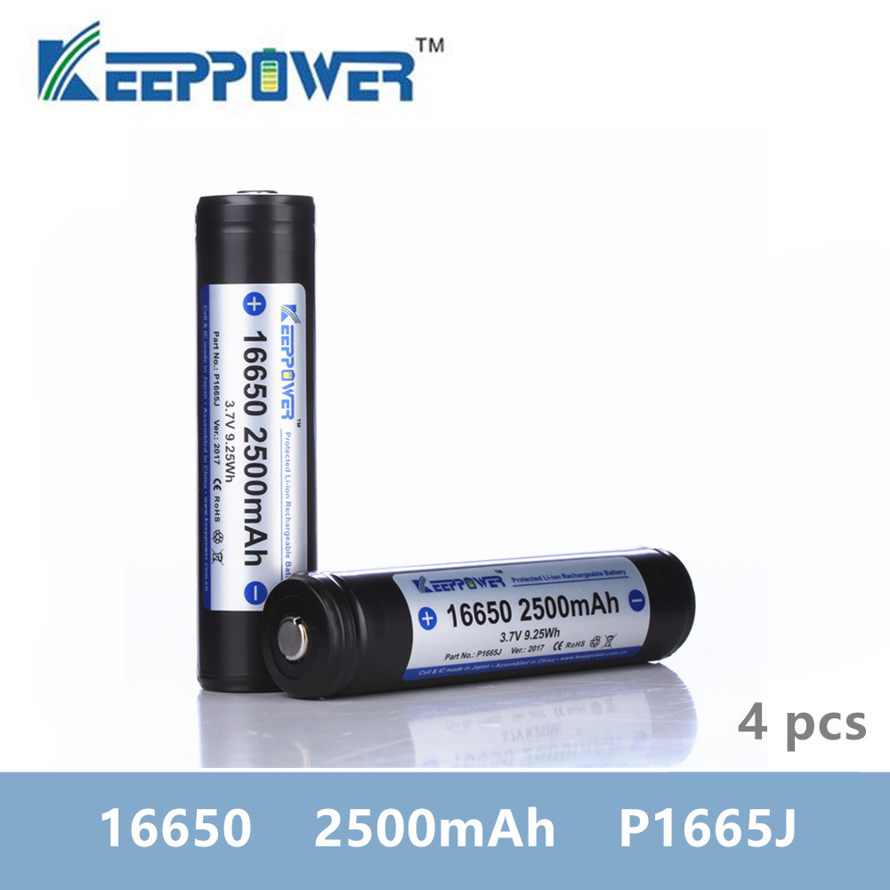 4 pcs KeepPower <font><b>16650</b></font> 2500mAh protected lithium rechargeable <font><b>battery</b></font> P1665J 3.7V drop shipping batteria image