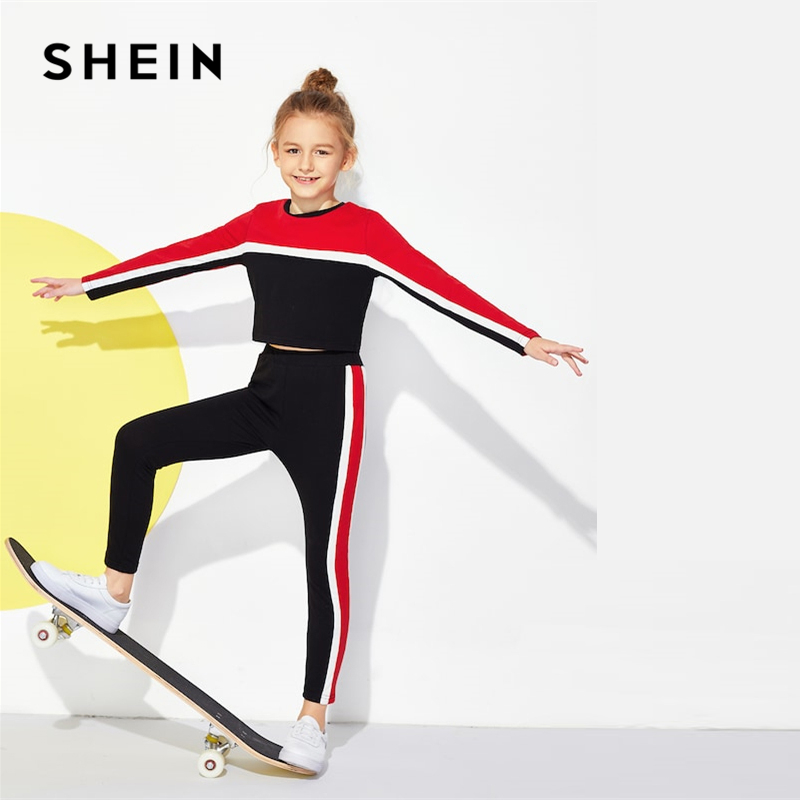 SHEIN Kiddie Colorblock Crop Top And Pants Girls Clothing Two Piece Set 2019 Active Wear Fashion Long Sleeve Children Clothes puff sleeve crop top and wide leg pants set