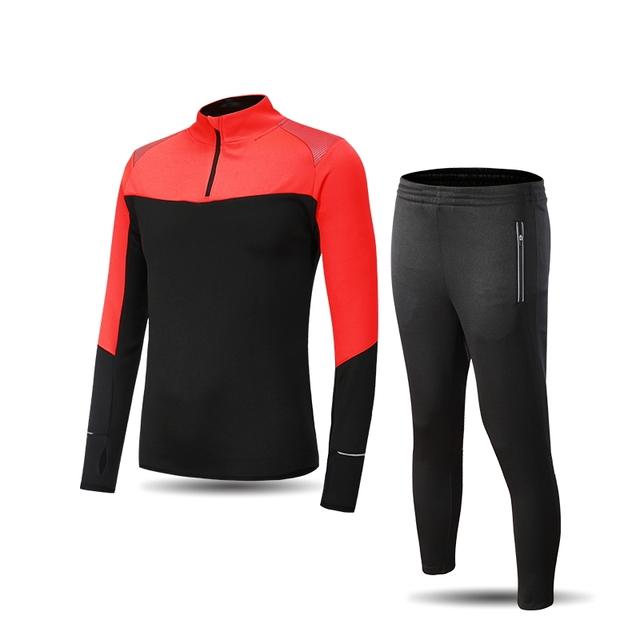New Men Sport Running Survetement Football Set Long Jacket Suit Soccer Training Skinny Leg Pants Tracksuits Sportswear Kits