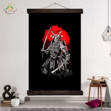 Black Samurai Collection Modern Wall Art Print Pop Posters and Prints Scroll Canvas Painting Pictures for Living Room