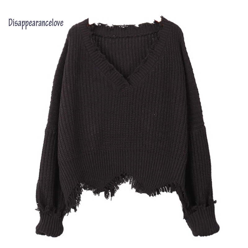 Lantern sleeve sweater female short pullover loose Vintage sweater design outerwear V-neck sweater