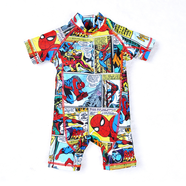 Kids Swimwear One Piece Children Swimsuit Minions Batman Swimming Boys Captain America Sport UPF50+ Beachwear Baby Bathing Suit