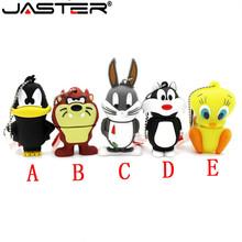 JASTER Looney Tunes usb flash drive 32GB pendrive 16GB 8GB 4GB bugs bunny Daffy duck Cartoon Hot Sale animal pen drive usb 2 0 cheap Creative May-13 Plastic Lanyard