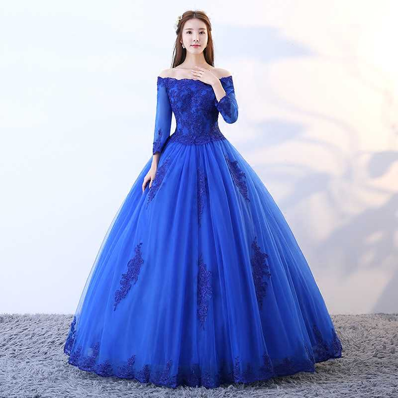 Ruthshen Quinceanera Gaun Royal Blue Masquerade Vestido Vintage Bahu Gaun Bola Bengkak Gaun Prom 2018 Baru
