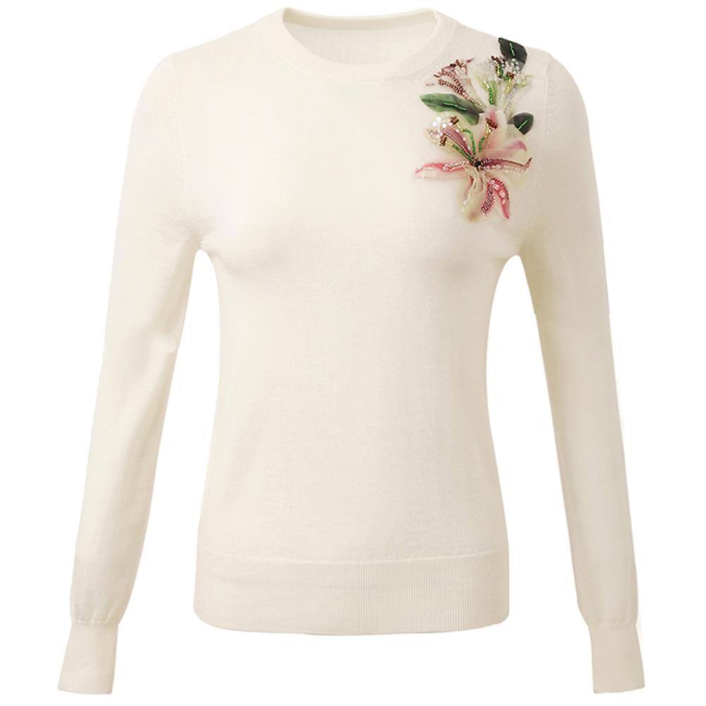 Czerwony RoosaRosee projektant Runway damska swetry swetry z długim rękawem aplikacja kwiatowa koraliki cienkie krótki sweter panie jesień Top w Pulowery od Odzież damska na  Grupa 2