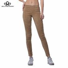 0fe38f7c35 Bella filosofía 2018 Otoño Invierno Faux Suede leggings doblar alta cintura  retro elástico stretchy Slim mujeres lápiz pantalone.