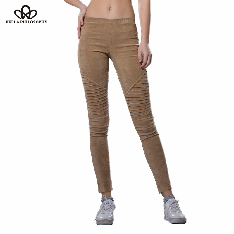 Bella Philosophy 2018 autumn winter faux suede leggings fold high waist retro elastic stretchy slim women pencil pants plus size