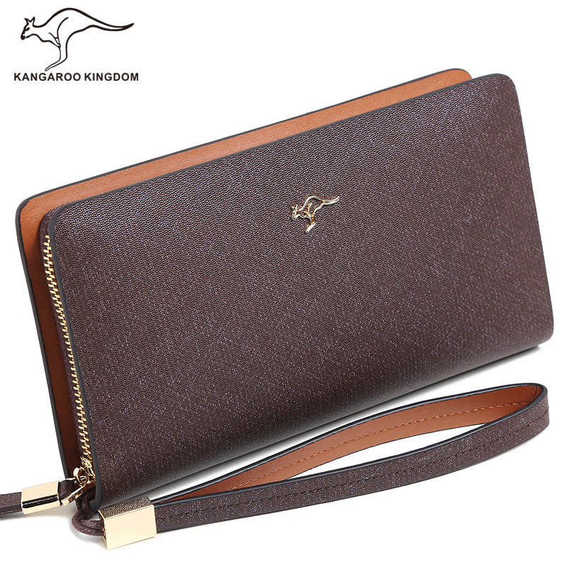 Kangaroo Kingdom Luxury Men Wallets Long Split Leather Business Male Clutch Pusre Brand Wallet Zipper