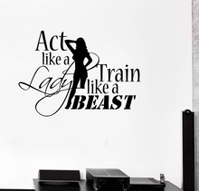 Fitness enthusiast Bodybuilding fitness vinyl wall stickers Club Woman bedroom home decoration decal 2GY5
