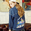 New arrival women's colored beauty penguin print denim jacket Lady's casual loose coat Female fashion outerwear Free shipping
