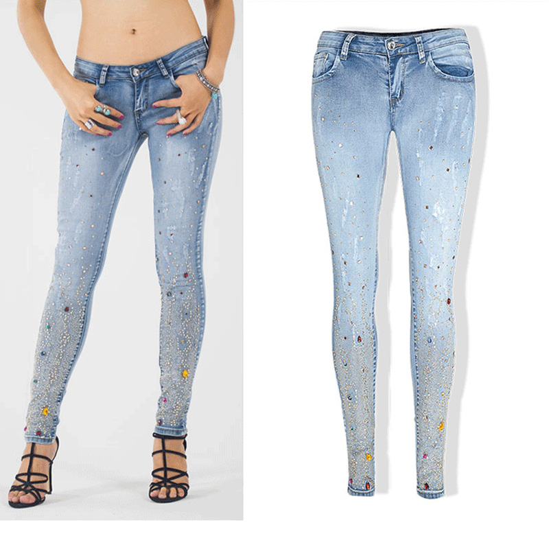 Women Skinny Jeans With Rhinestones Plus Size Colored Diamonds Pencil Ripped Jeans Bright Embroidered Flares Jeans Femme ZIH050 книжки игрушки умка книжка пианино ладушки потешки