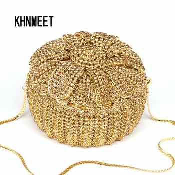 Golden Crystal Box Evening Bag Women Designer Cake Diamond Clutch Bag Female banquet Puse Party Bag Day Clutches Handbags SC531 - Category 🛒 Luggage & Bags