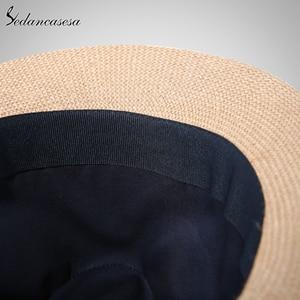 Image 5 - אופנה גברים פדורה כובעי קש לנשים איש חג חוף קיץ שמש כובע יוניסקס פשתן טרילבי כובעי סומבררו Hombre Verano מגניב