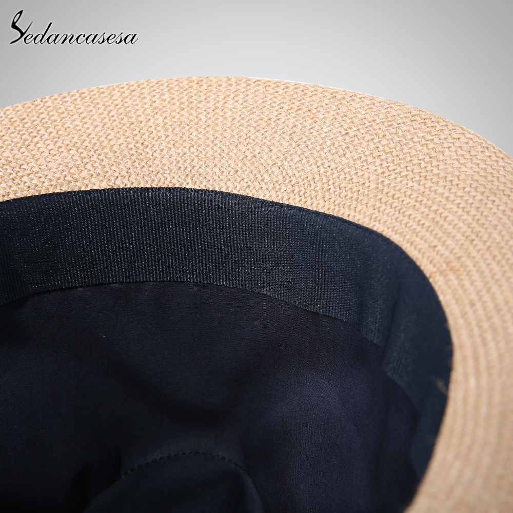 Image 5 - Fashion men fedora straw hats for women man holiday beach summer sun hat unisex linen trilby Caps Sombreros Hombre Verano cool-in Men's Sun Hats from Apparel Accessories