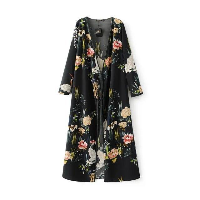 Women Crane Maxi Kimono Cardigans Shirt In Floral