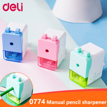 Deli School Supplies Pencil Sharpener Hand Crank Manual School pencil Stationery Desktop Creative Cute Design for Office Kids 2018 new affordable watermelon pencil sharpener hand crank manual school stationery kids random color