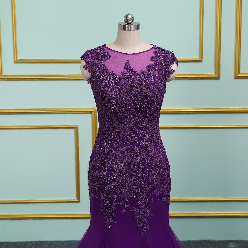 Purple Evening Dresses Long Mermaid 2019 Elegant Sheer Scoop Formal Gown vestido de noiva Long Prom dress Plus Size