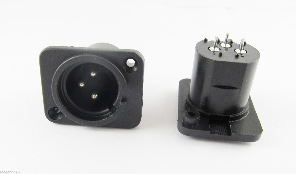 1pcs XLR Male Plug 3 Pin 3-Pole Panel Mount Chassis Socket Connector Black New