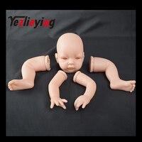 Doll Kit DIY Blank Unpainted Mold Sleeping Handmade Silicone Kit Soft Vinyl Reborn Kit Unisex Doll Accessories with 3/4 Limbs