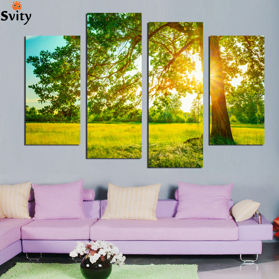 ≧4Panels unframed sun refraction tree lawn Scenery Wall Art ...