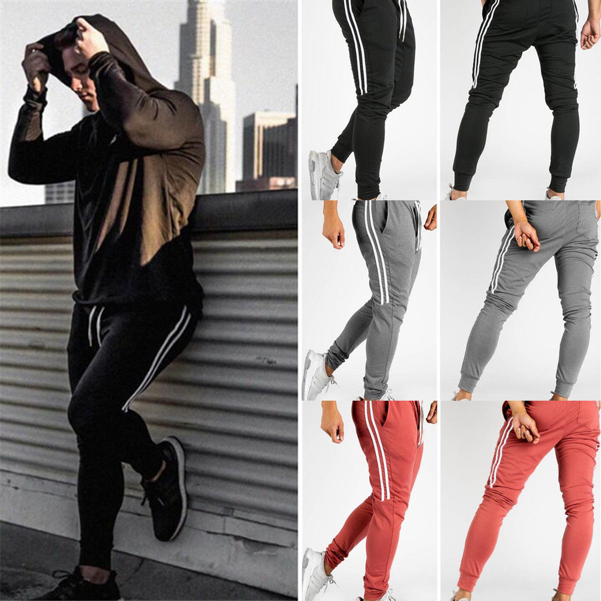 2019 Newest Hot Men Long Casual Sport Pants Gym Slim Fit Trousers Running Joggers Sweatpants