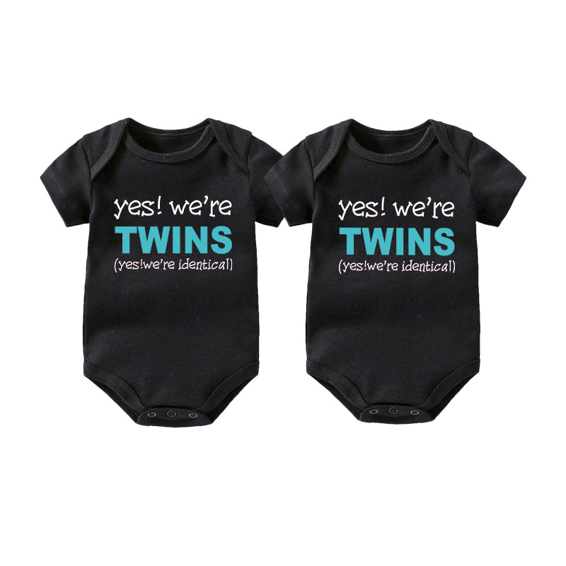 TWIN PERSONALISED Baby grows Baby vest UNISEX