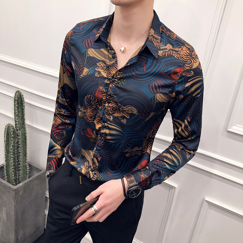 2018 new flower shirt male long-sleeved trend floral handsome shirt men's personality Korean Slim nightclub shirt clothing