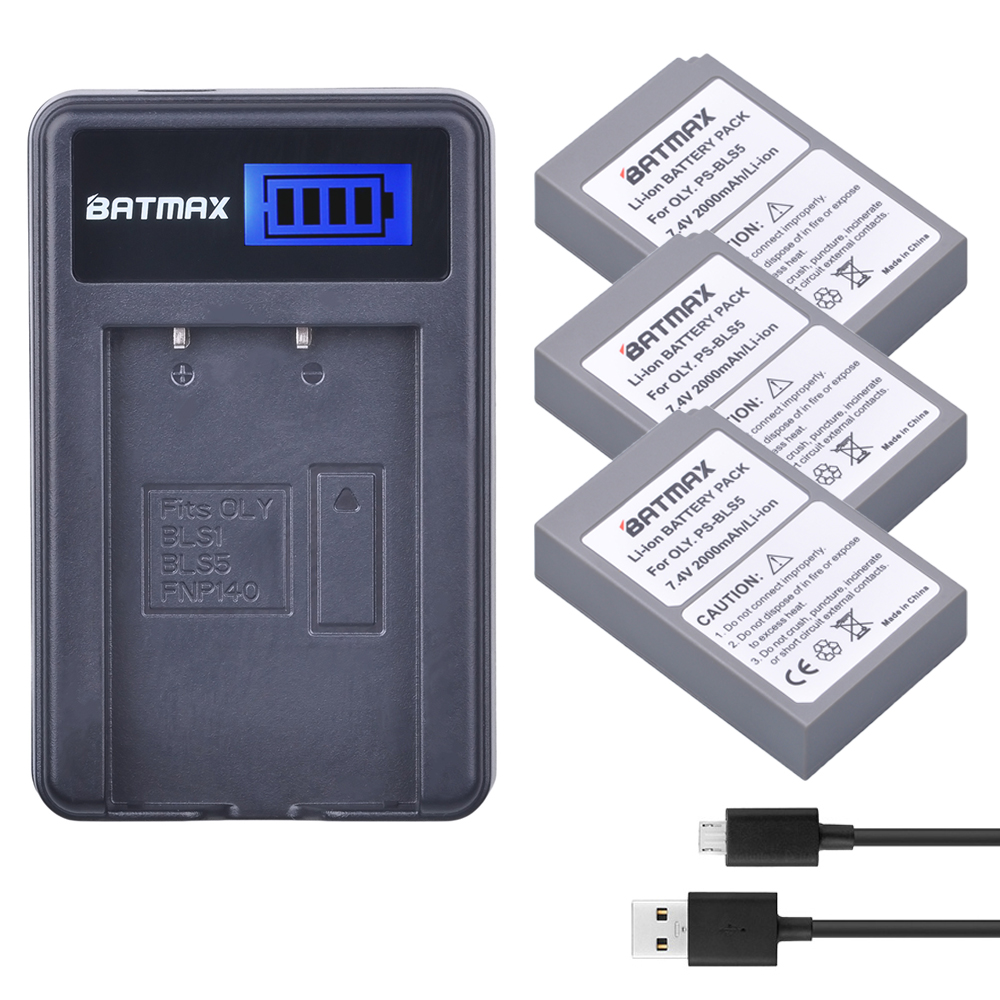 3pcs PS-BLS5 BLS-5 BLS5 BLS-50 BLS50 Battery +LCD Charger for Olympus PEN E-PL2,E-PL5,E-PL6,E-PL7,OM-D E-M10, E-M10 II, Stylus1 аккумулятор digicare plo s5 olympus bls 5 bls 1 для pen e p3 e pl2 e pl3 e pm1