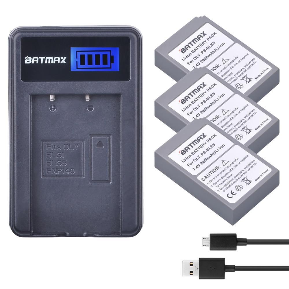 3pcs PS-BLS5 BLS-5 BLS5 BLS-50 BLS50 Battery +LCD Charger for Olympus PEN E-PL2,E-PL5,E-PL6,E-PL7,OM-D E-M10, E-M10 II, Stylus1 2pack bls 1 bls1 bls 1 rechargeable li ion batteries lcd charger for olympus e pl1 e400 e410 e420 e450 e620 e p1e p2