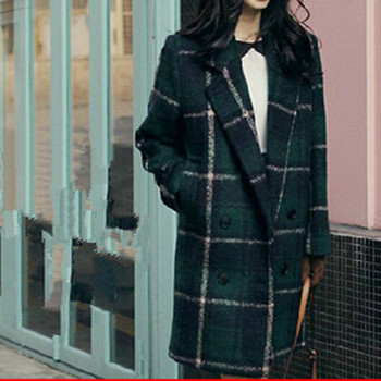 Women Wool & Blends Autumn/Winter Plaid Coat