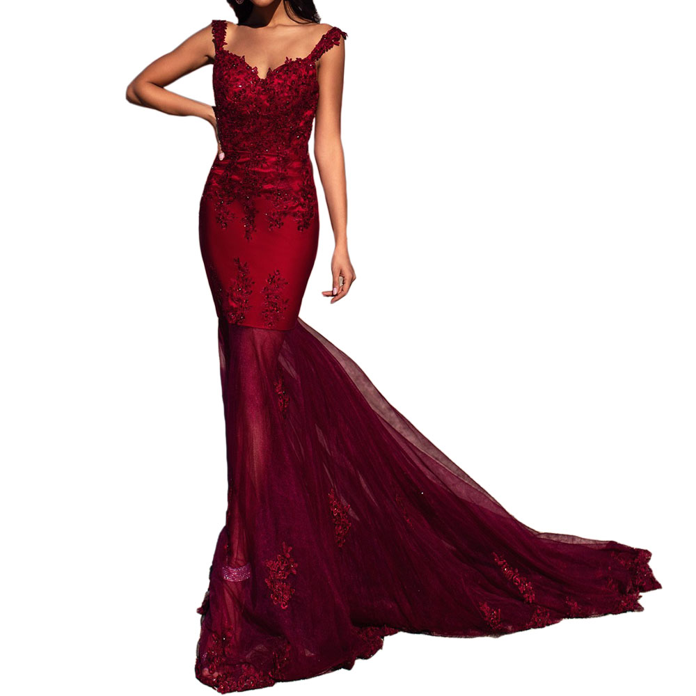 Angel Married Burgundy Tulle Mermaid   Prom     Dress   Long Beaded Appliques Sweetheart Backless Evening Gowns 2019 robe de mariage