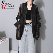 2017 Korean Fashion Women Loose Black White font b Blouse b font Mesh Sheer Sleeves Elbow