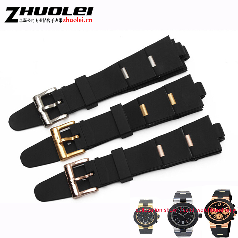 24mm 22mm Top Quality Black Diving Silicone Rubber Watch Bands for Men women rubber with stainless steel particles Straps