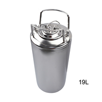 19L New Stainless steel Ball Lock Cornelius Style Beer OB Keg With Metal Handles