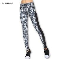 B.BANG Women Floral Print Leggings Casual Stripe Capris Woman Legging High Elastic Pants with Waist Pocket